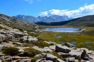 W tle łańcuch górski ze szczytem Cimatella (2098 m). Dans le fond une chaîne de montagne avec le sommet Cimatella (2098 m).