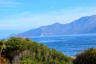 W tle widać kretą drogę prowadzącą z Cap Corse w stronę zatoki Saint Florent. Au fond on aperçoit une route sinueuse qui mène du Cap Corse vers le golfe de Saint-Florent.