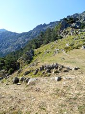 Kierunek – Capu Ghiovu (1629 m). Szlak przebiega poniżej szczytu, na północnym zboczu tej góry.