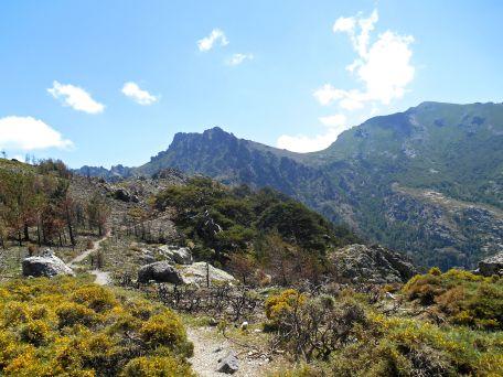 Kontynuując dalej szlakiem przechodzę na południowe zbocze grzbietu du Fucu (Crête du Fucu) i moim oczom ukazuje się Capu à u Dente (2029 m – środek zdjęcia), przełęcz Bocca di Tartaghjine oraz Monte Corona (2144 m). U stóp tego ostatniego szczytu wprawne oko dostrzeże schronisko pierwszego etapu GR20 – Ortu di u Piobbu (1570 m).