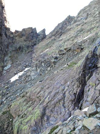 Początek podejścia w stronę przełęczy Bocca Minuta (2218 m).