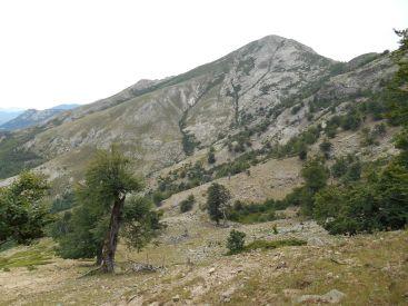 Następnie szlak kieruje się na wschód w stronę szczytu Capu a u Tozzu (2007 m), widoczny po prawej stronie zdjęcia.