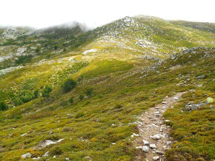 Droga w stronę przełęczy Boccu Stazzunara (2025 m). W tym miejscu jest rozwidlenie dróg. Idąc na północny-wschód dojdziemy po około 30 minutach do szczytu Monte Incudine. Zejście z grani natomiast pozwoli na dojście do schroniska Asinau.