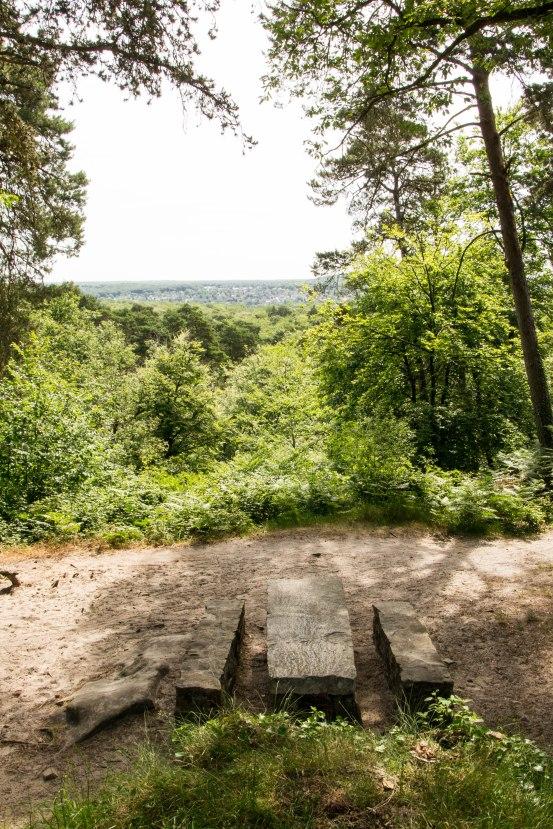 Kolejne miejsce widokowe - fontanna odkryta w 1837 roku. Z tego miejsca spoglądamy na wschód w stronę miasteczka Samoreau.