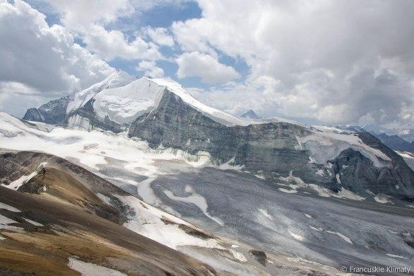 Lodowiec Bruneggletscher i szczyt Bishorn.