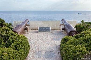 """Tablica upamiętniająca zatonięcie fregaty """"La Sémillante"""" . Z wyspami Lavezzi (znajdującymi się na południu Bonifacio) związane jest jedno z głośniejszych utonięć na Morzu Śródziemnym. W 1855 roku, 14 lutego, z portu w Tulonie wypływa fregata """"La Sémillante"""" o długości 54 metrów i szerokości 14 metrow. Na jej pokładzie znajduje się 301 członków załogi i 393 żołnierzy, którzy kierują się w stronę Konstantynopola, jako wsparcie wojska francuskiego w wojnie krymskiej. W okolicach Bonifacio okręt napotyka na szalejącą burzę i tonie w nocy z 15 na 16 lutego w pobliżu wysp. Nikt nie przeżył katastrofy i tylko 560 ciał zostało wyniesionych przez prąd morski na ląd. Na wyspach Lavezzi znajdują się dwa cmentarze. Na jednym z nich – Achiarino – pochowane są zwłoki kapitana fregaty. Jest to jedyna ofiara, która została zidentyfikowana. Na drugim cmentarzu – Furcone – zbudowano w 1856 roku kapliczkę. Również w 1856 roku na szczycie skały Achiarino postawiona została piramida upamiętniająca tę tragedię."""