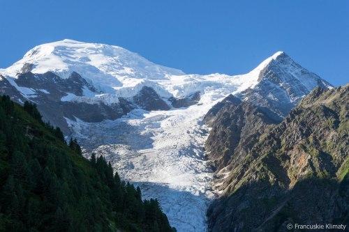Dôme du Goûter (4304 m), Aiguille du Goûter (3863 m) i Glacier de Taconnaz.