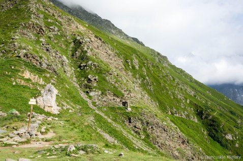 Szlak prowadzący od przełęczy Tricot do schroniska Plan Glacier.