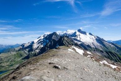 Na pierwszym planie Têtes de Bellaval (2892 m) i Mont Tondu (3196 m). W tle mont Blanc (4808/10 m) i mont Blanc de Courmayeur (4748 m). Po prawej stronie Aiguille des Glaciers (3816 m).