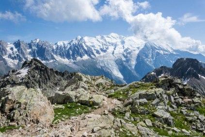 Mont Blanc i Glacier des Bossons.