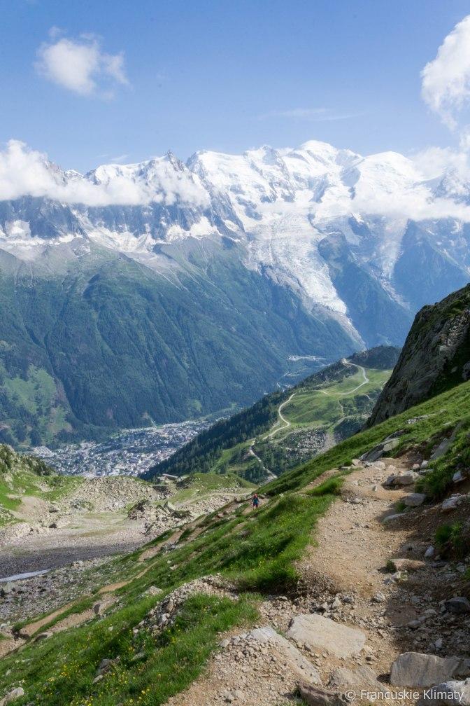 Planpraz (nasze miejsce docelowe) i w dole Chamonix.